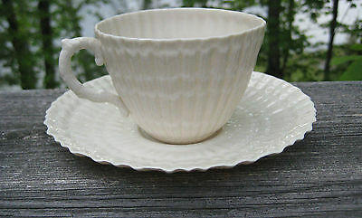 Vintage Belleek Cup And Saucer Limpet 3Rd Black Mark C 1926-1946
