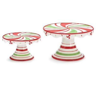 NEW Peppermint Swirl Ceramic Christmas Cake Stands 9731321