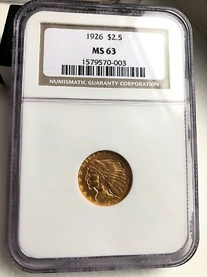 Gold Indian head 1926 $2.5 MS63 NGC