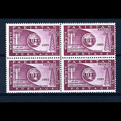PAKISTAN 1965 I.T.U. SG 221. Block of Four. Mint Never Hinged. (AM355)