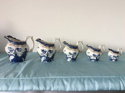 Booths Real Old Willow Set of 5 Descending Size Jugs A8025