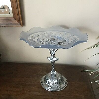 Vintage Art Deco Green Glass Cake Stand With Polished ...