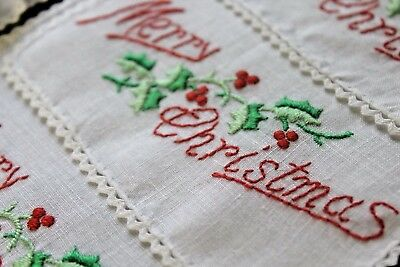 Vintage Handmade Embroidered Merry Christmas Holly Cocktail Napkins Set 8