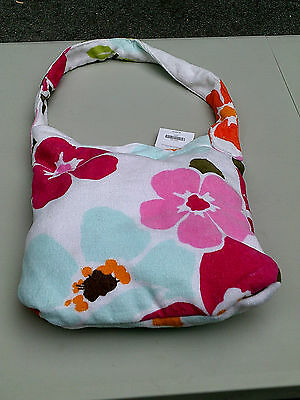 Gymboree White Beach Towel In Bag with Pink Blue Orange Flowers NWT