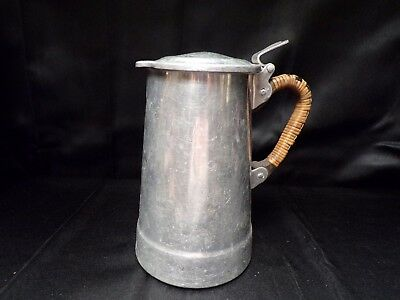 "Vintage 7"" tall French Aluminum MILK POT with Lid - Wicker Handle - circa 1940"