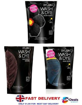 DYLON WASH & DYE 400G FABRIC CLOTHES MACHINE DYE, RESTORES COLOUR Pouch