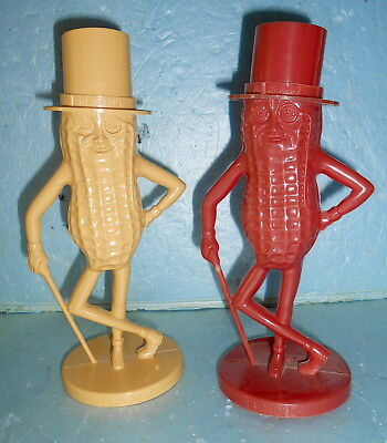 TWO Vintage Mister Mr. Peanut Planters Nuts Savings Banks  RED & TAN -USA Made