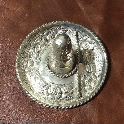 Sterling Silver Mexican Coat of Arms Sombrero Jewelry Tray/Ashtray 54 grams