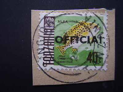 TANZANIA 1970-1973 FISH Definitives O/P OFFICIAL VARIETY ON PIECE I . replace L