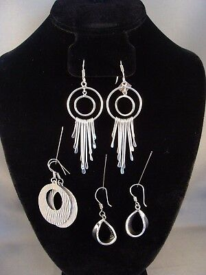 3 pairs of vintage 925 Sterling Silver Earrings Mexico
