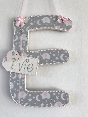 Wooden Letters Pink Grey Blue Elephant Boy Girl  Baby Nursery Decor Wall Hanging