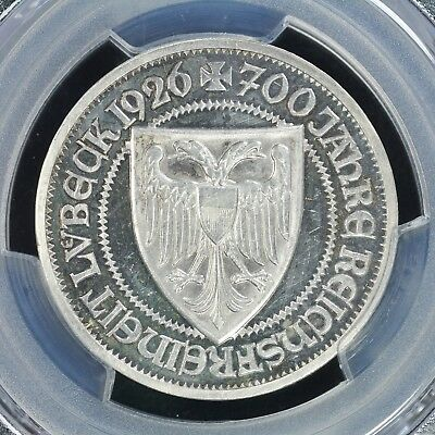 3 Mark 1926-A PCGS PR63CAM Germany Weimar Republic Lubeck Proof Silver Choice