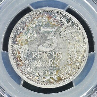 3 Mark 1931-D PCGS AU55 Germany Weimar Republic Rare Regular Issue Silver Toning