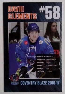 DAVID CLEMENTS 2016-17 Coventry Blaze
