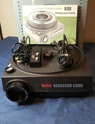 Kodak Carousel 800 Slide Projector w/ Remote and Operating Manual