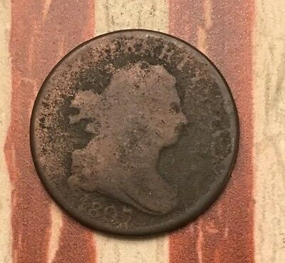 1807 Draped Bust Half Cent Vintage US Copper Coin #UK19 Very Sharp Rare Key Date