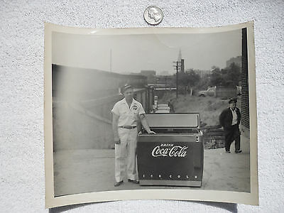 "Vintage Coca Cola Cooler Photo 1950 Uniform Route Salesman A. JOSEPH 10"" x 8"""