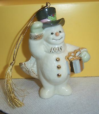 1998 LENOX XMAS TREE SNOWMAN ORNAMENT A FROSTY MORNING Gold Accent NOS In Box