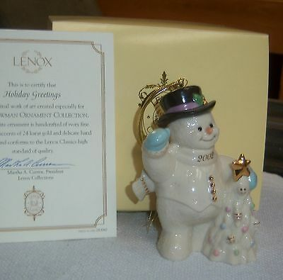 2002 LENOX XMAS TREE SNOWMAN ORNAMENT HOLIDAY GREETINGS Gold Accent NOS In Box