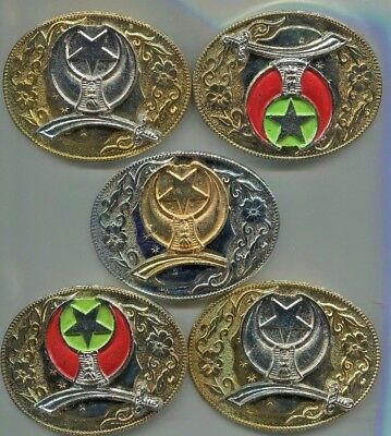 "Shriner Belt Buckles Group of 5  Red Green Gold Silver Colors  3-1/2"" X 2-1/2"""