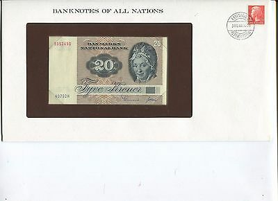 1972 Denmark 20 Kroner Note P49 Crisp UNC  Banknotes of All Nations Limited Ed.