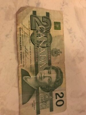 Canadian $20 Dollar Bank Note Bill Circulated 1991 Canada SHIPS OUT NEXT DAY