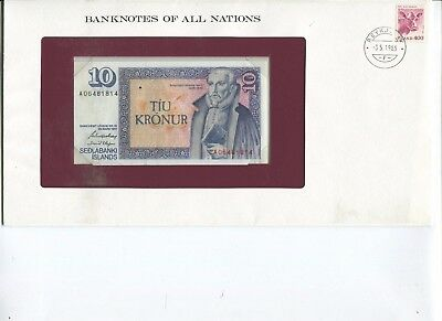 1961 Iceland 10 Kronur Note P48 Crisp UNC  Banknotes of All Nations