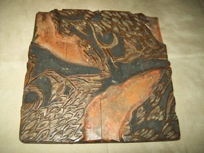 Antique Wood Textile Printing Block Holland Germany Industrial