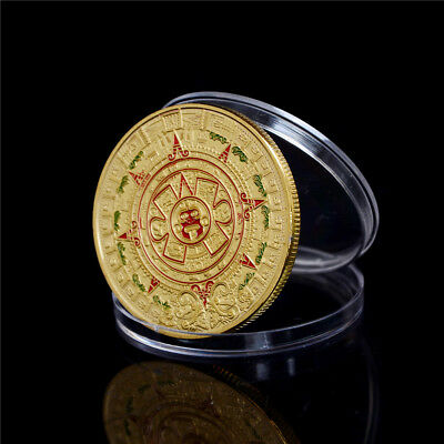 40mm Gold Plated Mayan Aztec Prophecy Calendar Commemorative Coin Collection