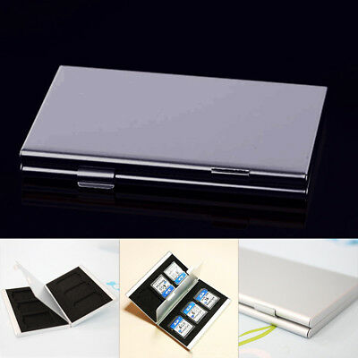 Silver Aluminum Memory Card Storage Case Box Holders 6 Slots For Micro SD Card