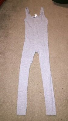 VTG 1980s Gray Unitard One Piece Disco Jumpsuit 'IN Motion' Workout SMALL