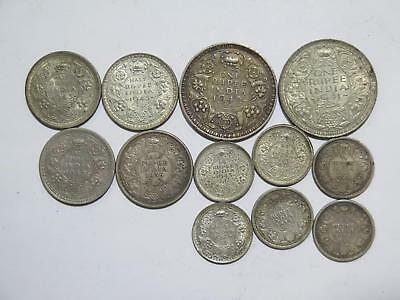 British India 1/4 1/2 Rupee George Vi King & Emperor Silver Coin Collection Lot