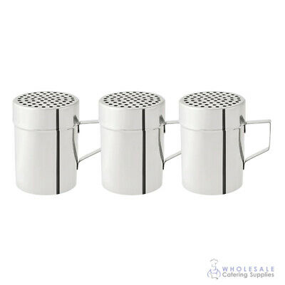 3x Cheese Shaker w Handle 285mL Stainless Steel Coarse Salt Pepper Herb Dredge