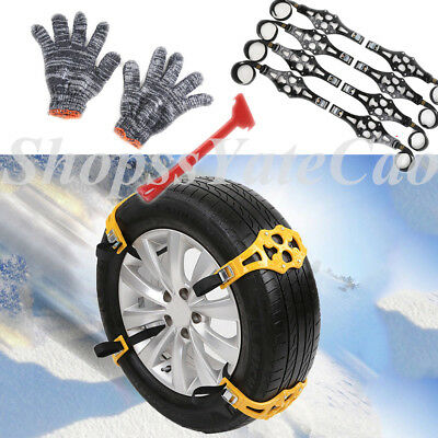 6pcs Black Simple Winter Car Truck Snow Chain Tire Anti-skid Belt Easy Install