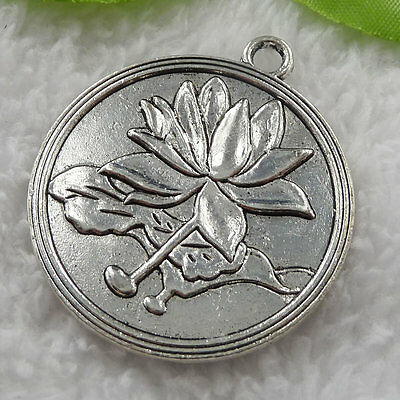 free ship 12 pieces tibet silver round lotus flower charms pendant 46x41mm #813