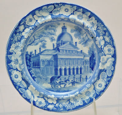 Historical Blue Staffordshire Boston State House Plate 1820