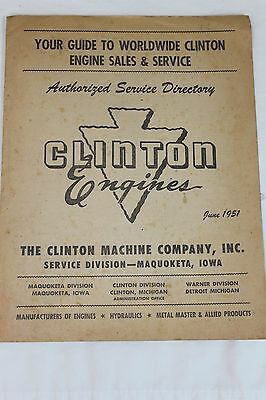 Vintage 1951 Clinton Engine  Chain Saw Authorized Service Directory Book Catalog