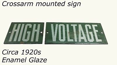 Green Porcelain Enamel 'HIGH VOLTAGE' Original Power Line Sign VTG Antique