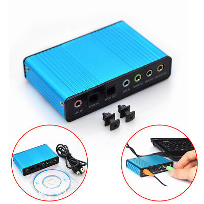 USB 2.0 External 6 Channel 5.1 Optical Audio Sound Card for Notebook PC Natural