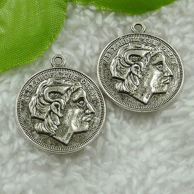Free Ship 120 pieces tibet silver coin charms 27x23mm #1708