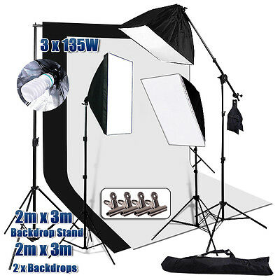 Photography Soft Box Boom Light Softbox Lighting 2x3m Backdrop Support Stand Kit