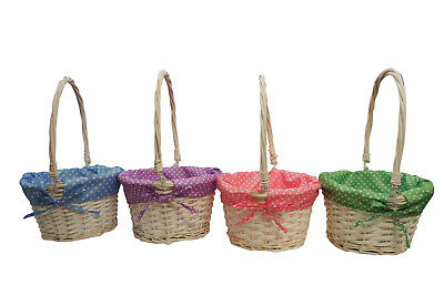 4 x Wicker Willow Round Basket Decoration Xmas Gift Hamper Basket Off white
