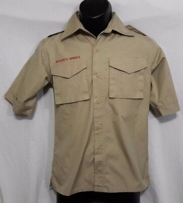 Boy Scout Youth Short-Sleeve Cotton Rich Poplin Shirt Uniform M Medium (A119)