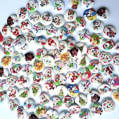 100pcs Christmas Themes Round Sew on Children Clothes Buttons Sewing DIY 15mm