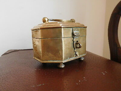 Found*vintage Brass Footed  Rectangular Shaped Hinge Lidded Trinket Container