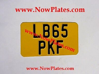 "1 x Pressed Motorcycle Yellow Number Plate Black & Silver 7""ins x 4""ins"