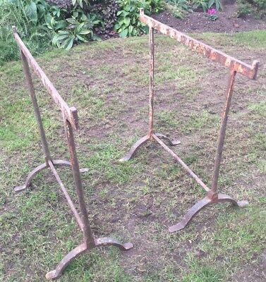 Antique Pair Of Wrought Iron Trestles For Large Table ~ Desk Vintage Industrial.