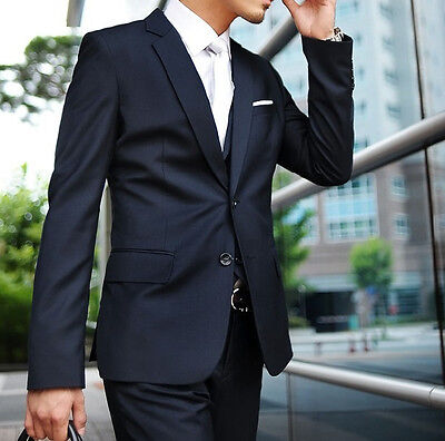 Mens Suit Wedding Tuxedos Groom Party Prom Suits Navy Slim Fit Two Button