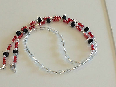 Handmade Red and Black Beaded Glasses Chain