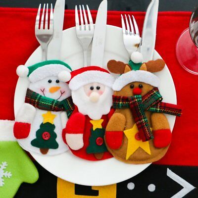 Xmas Santa Claus Kitchen Table Decor Tableware Holder Pocket Dinner Cutlery Bag